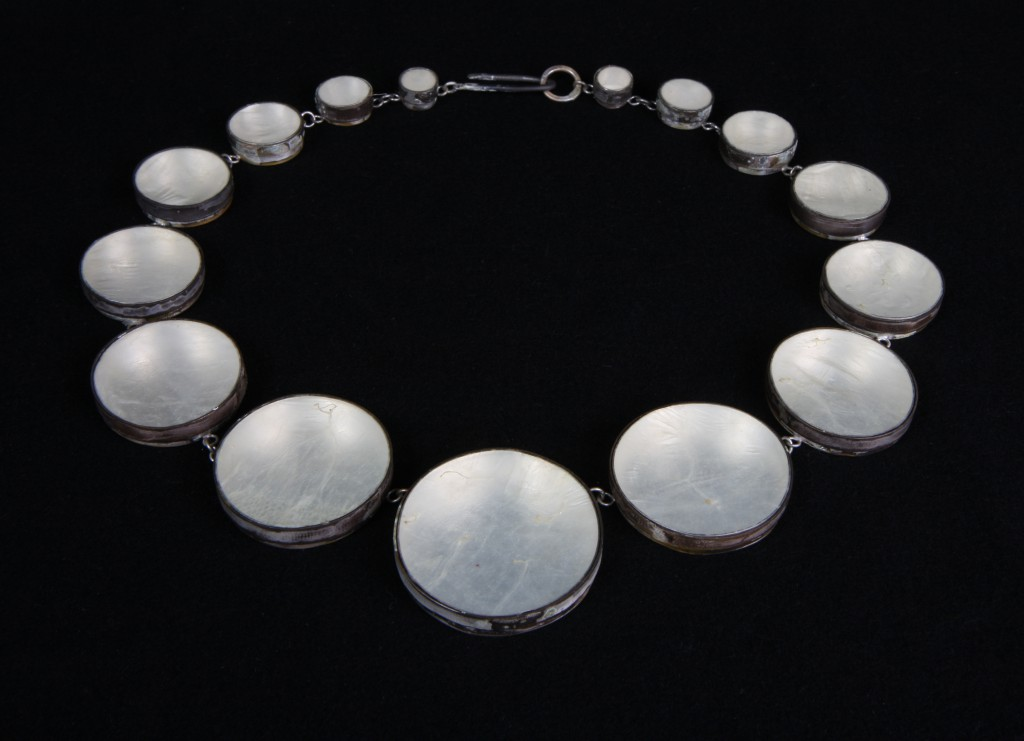 Halsband av gristarm och silver / Necklace made of intestines from pig and silver